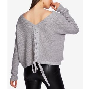 1. STATE Gray V-Back Lace Up Sweater M